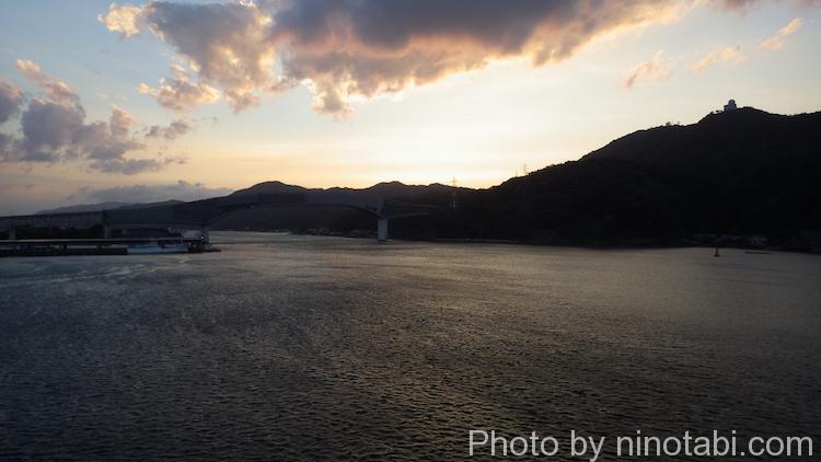 甲板から眺めた夕焼け