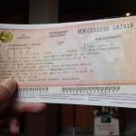 ウラジオストクからイルクーツクまでのシベリア鉄道のチケット