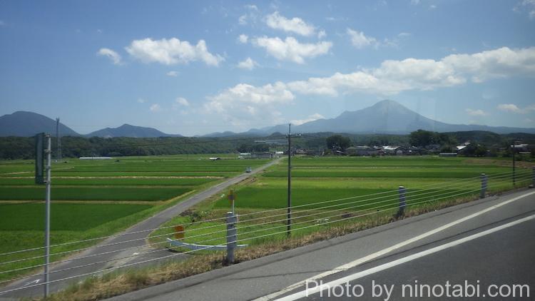 米子道を走るバスから見えた景色