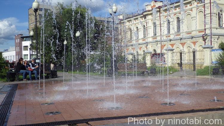 イルクーツク市内の一角にある噴水