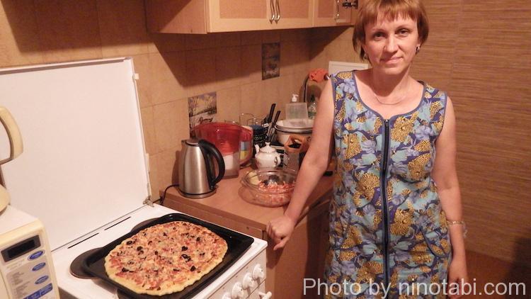 ナターシャさんの手作りピザ