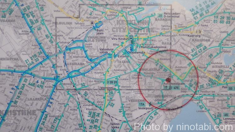 タリンバスターミナル内の地図