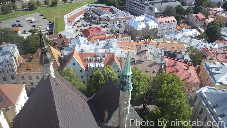 教会の屋根を見下ろす