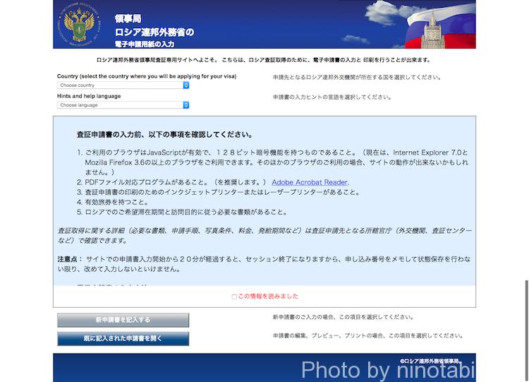 ロシア連邦外務省領事局査証専用サイト入力画面1